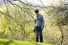 Free Man Walking Up A Hill Stock Image - 9165511