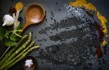Free Food Ingredients Including Asparagus And Garlic Stock Photos - 91630713