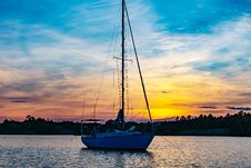 Free Boat At Sea At Sunset Stock Photos - 91630953