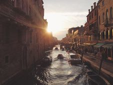 Free 3 Boat On Canal During Sunset Stock Photos - 91664633
