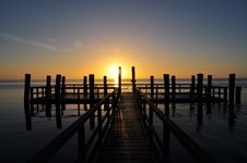 Free Wooden Pontoon At Sunset Stock Photo - 91664790