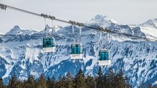 Free Alpine Cable Car And Mountains Stock Photo - 91666030