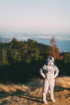 Free Person In Storm Trooper Helmet Standing On Sand Stock Images - 91757244