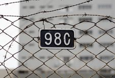 Free Barbed Wire With Number Plate Stock Images - 91759574
