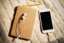 Free Notebook And Smartphone With Headset Royalty Free Stock Image - 91760006