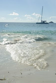 Free A Sailboat In Indian Ocean On Anse Lazio Beach. Stock Photography - 9187852