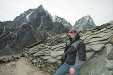 Trekker In The High Himalaya Stock Photo