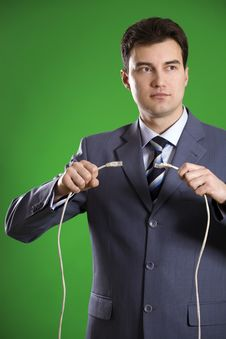 Free Man With Wires In His Hands Stock Image - 9205091