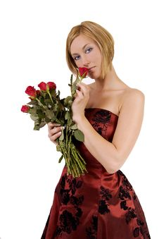 Free Blond Woman With Roses Royalty Free Stock Image - 9212076