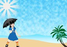 Free Girl Walking Beach Stock Photos - 9213003
