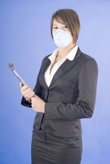 Free Executive Woman With Protective Mask For Swine Fl Royalty Free Stock Photos - 9213428