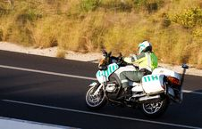 Free Police Biker In Hot Pursuit Stock Images - 9214354