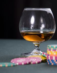 Free Casino: Cognac, Playing-cards Stock Image - 9216291