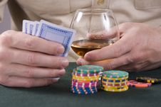 Casino: Cognac, Playing-cards And Chips Stock Photography