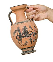 Free Greek Vase In Hand Royalty Free Stock Photography - 9216487