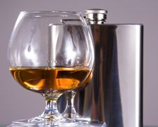 Free Cognac And Flask Royalty Free Stock Photos - 9216498