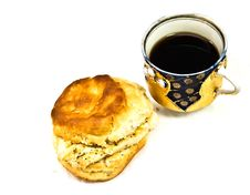 Free Cup Of Coffee/Tea Chicken Biscuit Royalty Free Stock Photo - 9216585