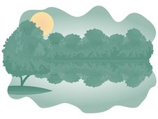 Bushes Over Lake Royalty Free Stock Image