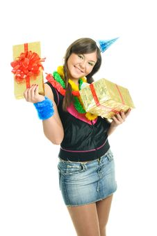 Free Happy Girl With A Present Royalty Free Stock Images - 9218519