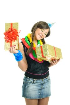 Free Happy Girl With A Present Royalty Free Stock Image - 9218536