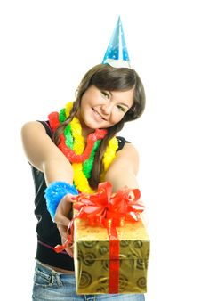 Free Girl Giving Us A Present Royalty Free Stock Photo - 9218575