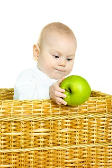 Cute Baby With An Apple Stock Photo