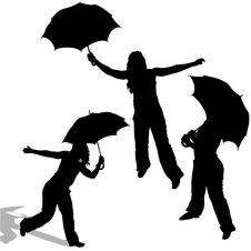 Free Girl And Umbrella Stock Photography - 9219042