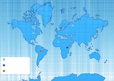 Free Checked World Map With Color Points. Stock Images - 9219784
