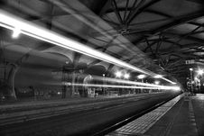 Free Timelapse Photo Of Greyscale Train Passing By Stock Image - 92133361