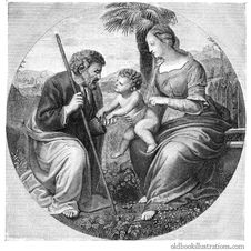 Free Holy Family With Palm Tree Stock Images - 92145934