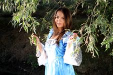 Free Woman In Pretty Blue Dress Stock Image - 92160251