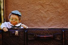 Free Antique Baby Boy With Cap And Spectacles Stock Images - 92160294