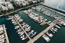 Free High Angle View Of Boats In River Stock Photos - 92160383