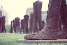 Free Agora Big Foot Iron Sculpture Brown Grass Statue Grant Park Chicago Artist Magdalena Abakanowicz Stock Image - 92161621