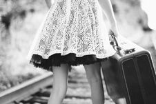 Free - Black And White Vintage Suitcase Girl Railroad Tracks Walking Royalty Free Stock Photos - 92161718