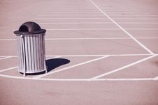 Free Grey Black Trash Can Empty Parking Lot White Lines Shadow Royalty Free Stock Photography - 92161847