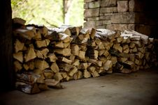 Free Wood Pile Fire Place Outdoors Brown Stock Images - 92162074