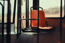 Free Orange Seat Bus Public Transit Poles MTA Transportation Stock Photography - 92162142