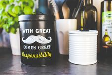 Free Kitchen Jar With Mustache Royalty Free Stock Image - 92162296