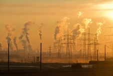 Free Polluting Smokestacks At Sunset Stock Image - 92173631