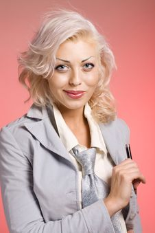 Free Blond Woman With Pen Royalty Free Stock Image - 9221296