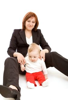 Free Businesswoman With Baby Stock Image - 9221431