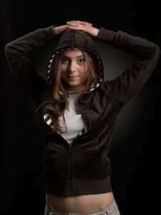 Free Smiling Young Girl In Hood Stock Photos - 9221503