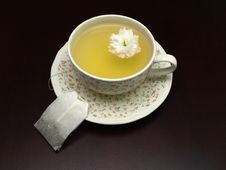 Free British Teacup And Teabag On A Table Stock Photography - 9223022