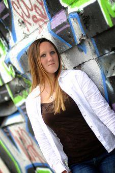 Free Girl On A Graffiti Wall Stock Photos - 9224133