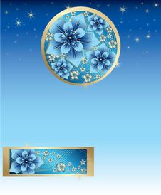 Free Blue Background With Blue And Gold Flowers Stock Photo - 9224400