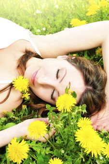Free Relaxing In The Grass And Flowers Stock Image - 9224431