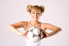Free Young Blonde In Sportswear With A Football Stock Images - 9224554