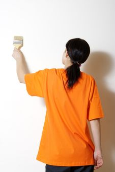 Paints A Wall Royalty Free Stock Image