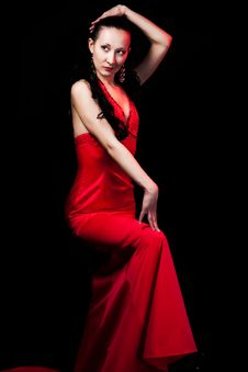 Free Woman In Red Dress Stock Image - 9228851